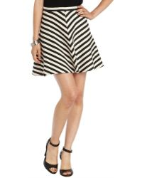 Greylin Black Cotton Blend Woven Striped Preston Circle Skirt - Lyst