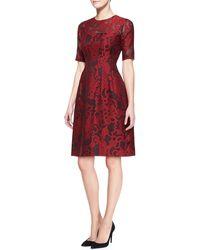 Lela Rose Brocade Lace Elbow-sleeve Dress - Lyst