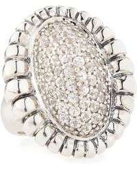 Lagos Pave Sapphire Fluted Ring - Lyst