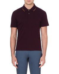 PS by Paul Smith Contrasttrim Logo Polo Shirt Mauve - Lyst