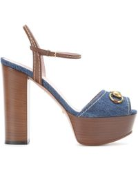 Gucci Denim And Leather Platform Sandals - Lyst