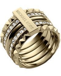 Michael Kors Stacked Pyramid Pave Ring Golden 6 - Lyst