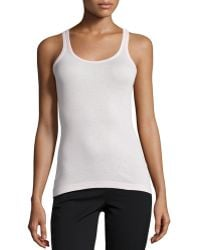 Vince High-Back Ribbed Tank pink - Lyst