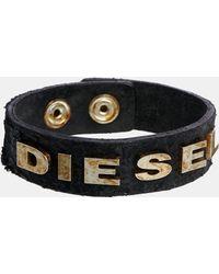 Diesel Albin Logo Leather Bracelet - Lyst