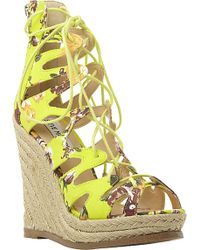 Steve Madden Ghille Lace-Up Wedge Sandals - For Women - Lyst