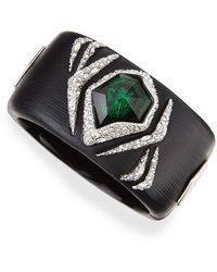 Alexis Bittar Large Black Lucite Bracelet with Green Crystal - Lyst