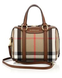 Burberry | Alchester Small House Check Cotton & Leather Bowler Bag | Lyst