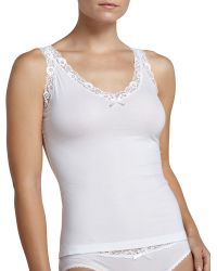 Hanro Valerie Scalloped-lace Tank - Lyst