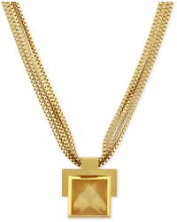Vince Camuto - Gold Tone Stone Plaque and Multichain Pendant Necklace - Lyst