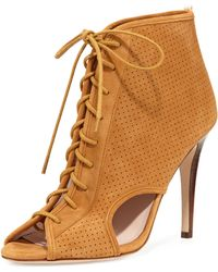 SJP by Sarah Jessica Parker Marci Suede Open-Toe Boots - Natural