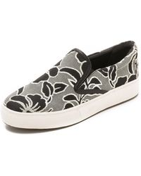 Belle By Sigerson Morrison - Saras Slip On Sneakers - Grey/Milk - Lyst