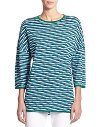 St. John Wave-Stripe Knit Tunic - Lyst