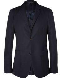 Calvin Klein Blue Wool-Hopsack Blazer - Lyst