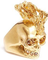 Alexander McQueen Crystal Punk Fish Skull Ring pink - Lyst