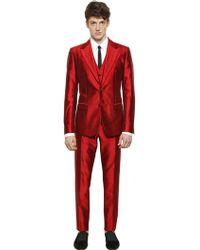Dolce & Gabbana Silk Shantung 3 Piece Suit red - Lyst