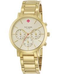 Kate Spade Gramercy Grand Goldtone Stainless Steel Chronograph Bracelet Watch - Lyst