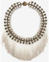 Tataborello Fringe Trim Crystal Bead Necklace - Lyst