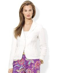 Lauren by Ralph Lauren Petite Four Button Linen Blazer - Lyst