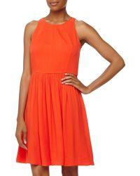 Rebecca Taylor Cutoutback Crepe Dress - Lyst