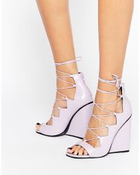ASOS | Homegirl Lace Up Wedge Heels | Lyst