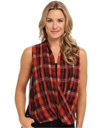 Vince Camuto Sl Plaid Filters Wrap Shirttall Blouse - Lyst