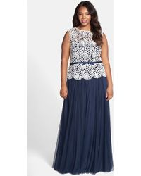 Tadashi Shoji Embroidered Bodice Gown With Tulle Skirt - Lyst
