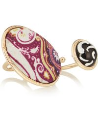 Etro Gold-plated Silk and Glass Three-finger Ring - Lyst