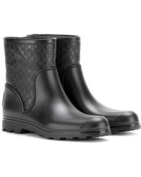Gucci Leather and Rubber Short Wellington Boots - Lyst