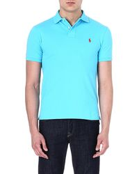 Ralph Lauren Slimfit Mesh Polo Shirt Liquid Blue - Lyst