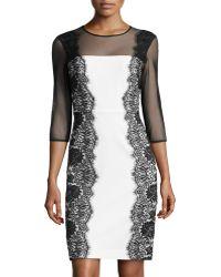 Chetta B Longsleeve Lace Sheath Dress - Lyst