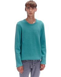 Lanvin Mens Bicolour Crew Neck Wool Sweater - Lyst