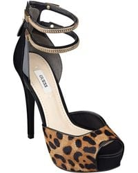 Guess Katrineny Leather And Calf Hair Peep-Toe Pumps - Lyst