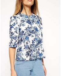 Asos Shell Top In Textured Floral Print - Lyst