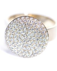 DINA KAMAL DK01 - White-Diamond & Gold Flat-Coin Ring - Lyst