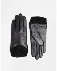 Asos Leather Gloves With Knitted Cuff And Touch Screen Detail - Lyst