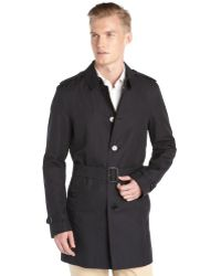 Burberry Navy Belted Trench Coat - Lyst