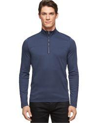 Calvin Klein Blue Quarter-Zip Pullover - Lyst