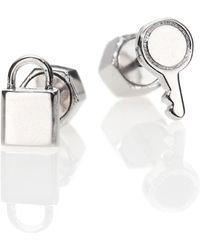 Marc By Marc Jacobs Tiny Lock & Key Stud Earrings - Lyst