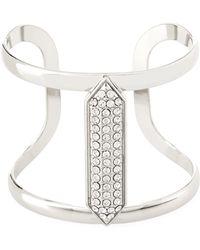 Lydell NYC - Crystal-studded Silvertone Cuff Bracelet - Lyst