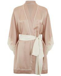 Carine Gilson Short Silk Kimono - Lyst