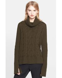 Alexander McQueen Cable Knit Turtleneck Sweater green - Lyst