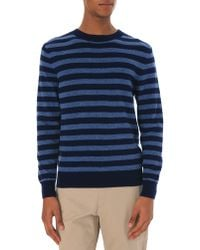 A.P.C. Dominique Navy Blue Cashmere And Wool Round Neck Sweater - Lyst