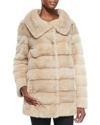 Oscar de la Renta Mink Fur Taffeta Reversible Coat - Lyst