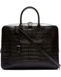 Saint Laurent Black Leather Croc_embossed Museuem Flat Briefcase - Lyst