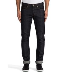 United Stock Dry Goods Slight Fit in Indigo Contrast Stitch - Lyst