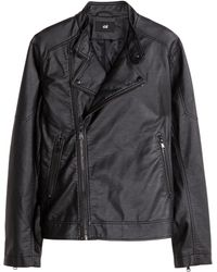 H&M Black Biker Jacket - Lyst