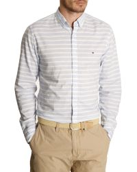 Tommy Hilfiger Sky Blue And White Striped Cotton Voile Shirt - Lyst