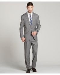 Hart Schaffner Marx Grey Worsted Wool Stripe 2 Button Suit with Flat Front Pants - Lyst