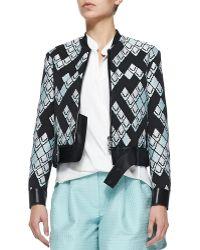 3.1 Phillip Lim Leather-Trim Baseball Jacket - Lyst