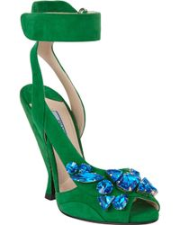 Prada Jeweled Anklestrap Sandals - Lyst